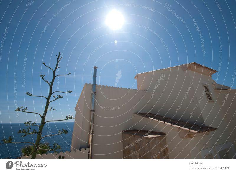 Loch im Himmel Haus Ferienhaus Villa Wand Dach Fassade Schornstein Dachziegel Gegenlicht Sonne blenden Wärme Agave Blüte blau Meer Horizont Weitwinkel