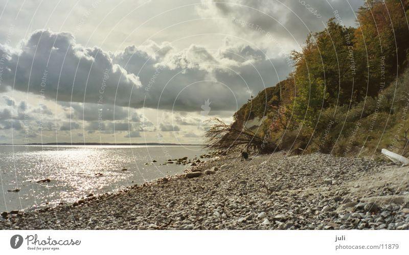 Kreidefelsen Meer Wolken Herbst Küste Rügen Ostsee Tretroller
