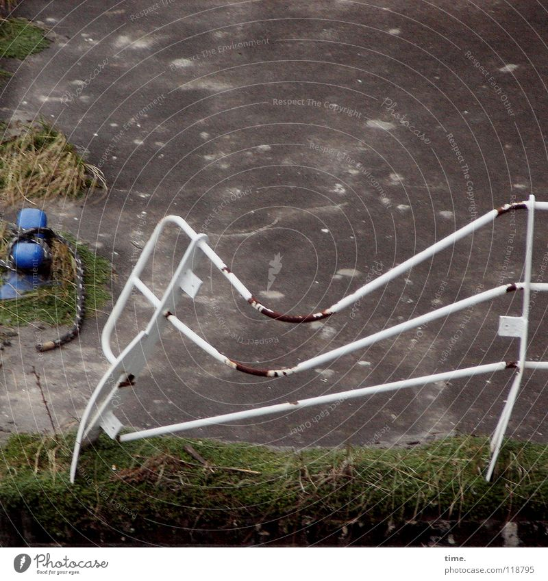 Lebenslinien #03 weiß Gras Seil Sicherheit kaputt Schutz gefroren Geländer Rost Anlegestelle Fleck Neigung Mole ankern Hafencity Poller