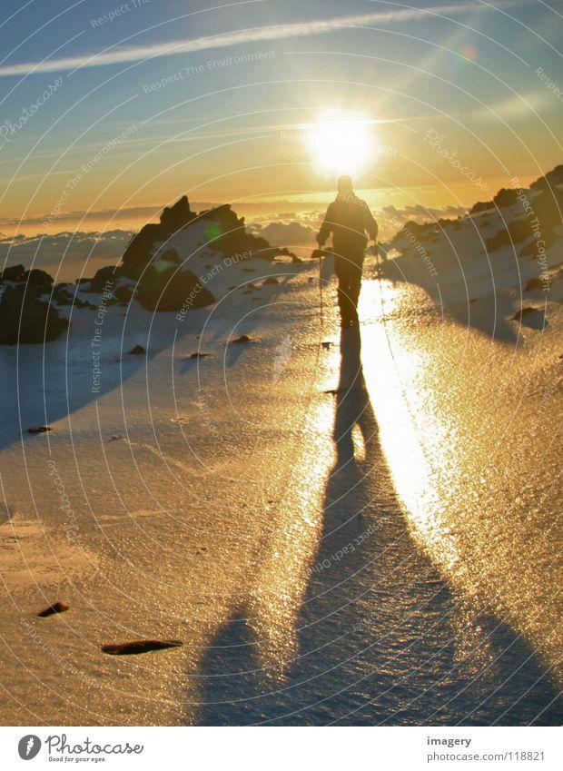 Sonnenaufgang am Teide_Teil 4 Bergsteigen Gegenlicht aufsteigen Berge u. Gebirge Erfolg Schnee Eis oben Himmel anstrengen Wintersport