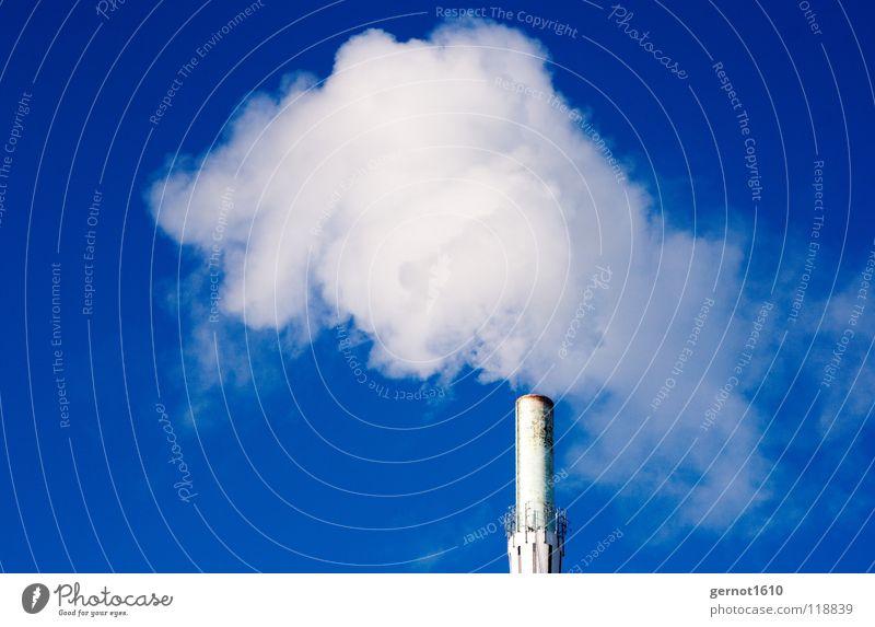 Klimaneutral II Himmel blau weiß Wolken Stimmung Nebel Kraft Technik & Technologie hoch Industrie rund Industriefotografie viele Rauch Abgas