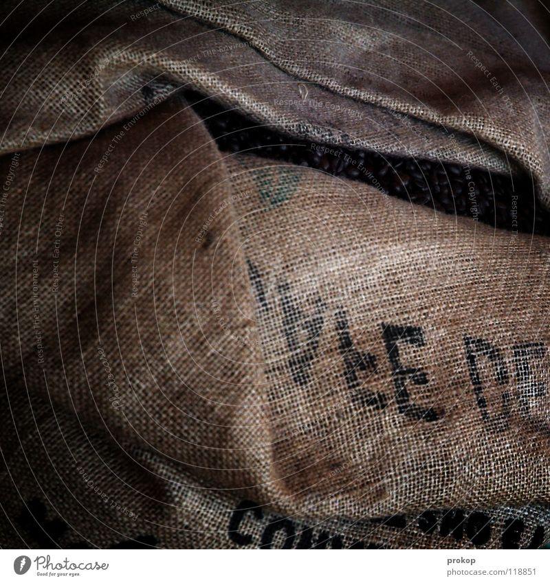 Alter Sack... Kaffeebohnen Kaffeeernte Koffein Lebensmittel Ernährung genießen lecker Jute drucken Buchstaben Wort Bohnen Espresso Dritte Welt Landwirtschaft