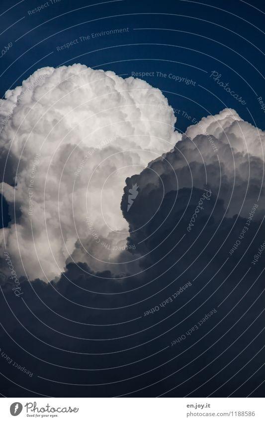 es wird Regen geben Himmel Natur blau weiß Wolken dunkel Umwelt Wetter Angst Energie Klima bedrohlich Urelemente Hoffnung Glaube Unwetter