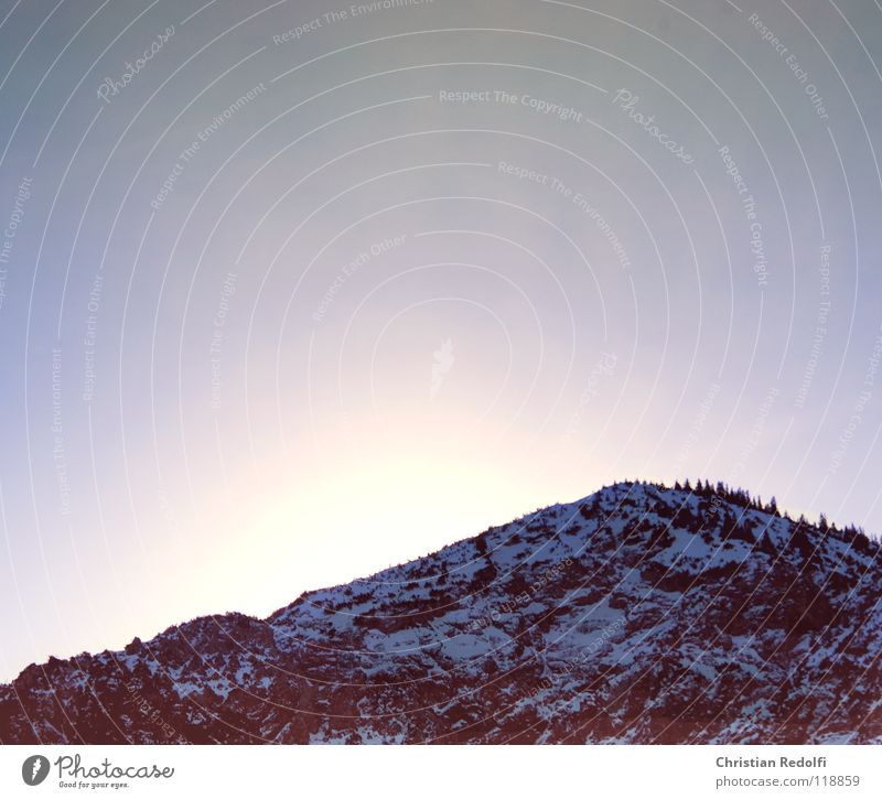 Berg Himmel rot Winter Landschaft Schnee Berge u. Gebirge See Eis Alpen Schneelandschaft Schlittschuhlaufen Gebirgssee