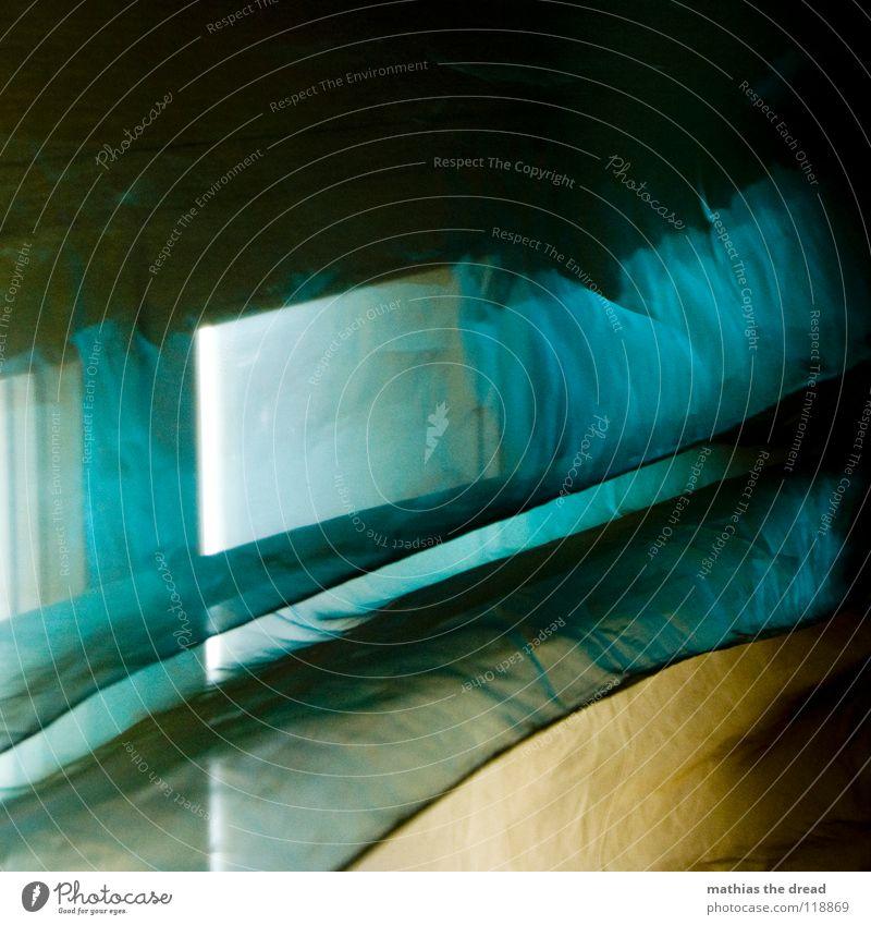 Verschleierte Fensterblick blau schön Leben Fenster Spielen Linie Innenarchitektur Wohnung Glas glänzend frisch Dekoration & Verzierung Stoff Falte lang Aussicht