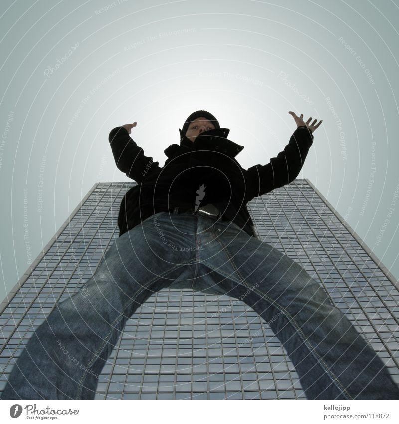 wolkenkratzer Mensch Himmel Mann Stadt Hand Haus Berge u. Gebirge Gefühle Architektur See Lampe springen Kunst Luft fliegen Freizeit & Hobby