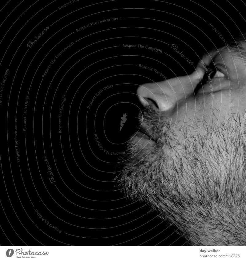 Schattenblicke Mann Lichtspiel Silhouette dunkel Bart Kinn Stirn Schwarzweißfoto Gesicht Mund Haare & Frisuren Auge Nase Gesichtsausdruck schweifen Blick