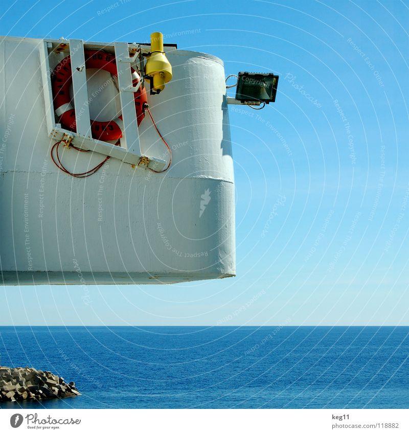 Rettung Himmel blau Wasser weiß Ferien & Urlaub & Reisen Meer Strand Freude Wolken Erholung Küste Sand Stein Horizont Wasserfahrzeug Wetter