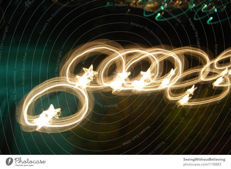 Stars Nacht Lichterkette dunkel Langzeitbelichtung Stern (Symbol) Weihnachten & Advent Beleuchtung