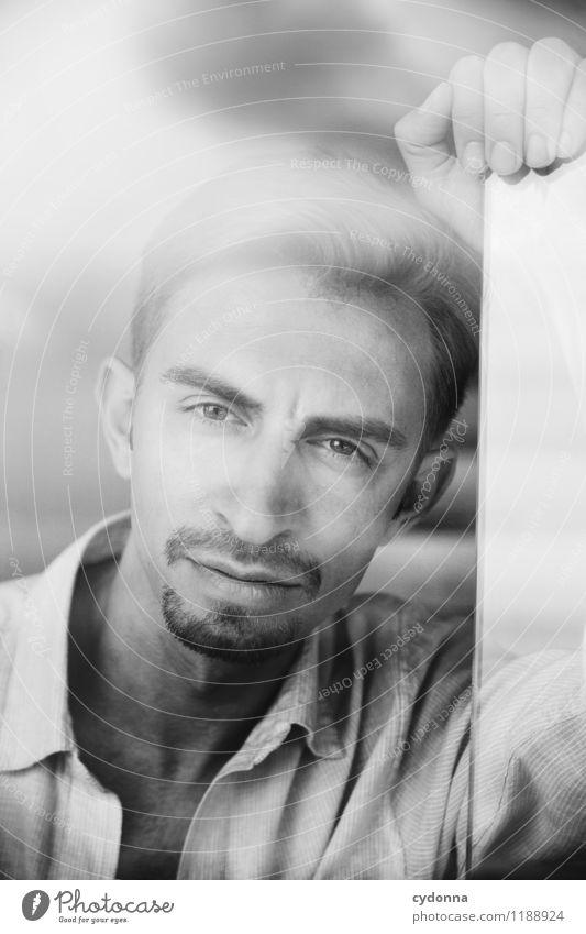 Robert schön Mensch Junger Mann Jugendliche Leben Gesicht 18-30 Jahre Erwachsene Hemd Scheitel Dreitagebart Erfahrung Gelassenheit Identität Konzentration Kraft