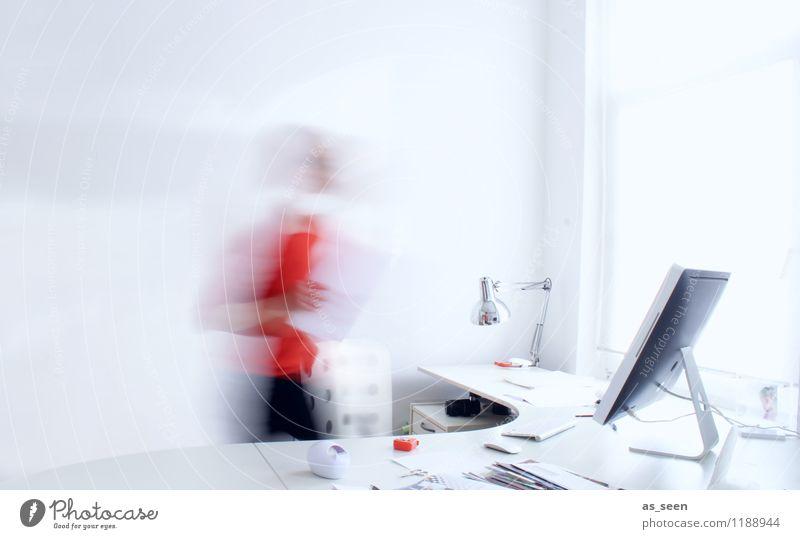 Work Life Balance Mensch weiß Erwachsene feminin Kunst hell Business Arbeit & Erwerbstätigkeit orange Büro Körper Technik & Technologie Computer Zukunft Telekommunikation Coolness