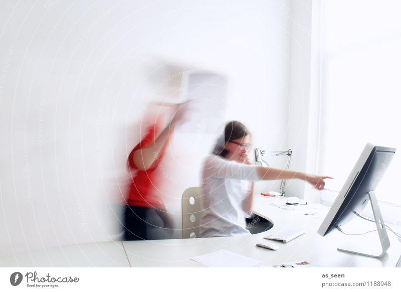 Teamwork Büroarbeit Grafiker Designer Entwurf Idee Arbeitsplatz Medienbranche Werbebranche Business Karriere sprechen Computer Tastatur Computermaus Bildschirm