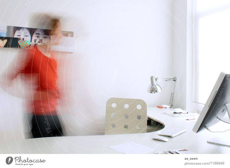 Office Mensch Frau Stadt weiß Erwachsene Bewegung Business Arbeit & Erwerbstätigkeit orange Büro Körper Erfolg ästhetisch Technik & Technologie Computer