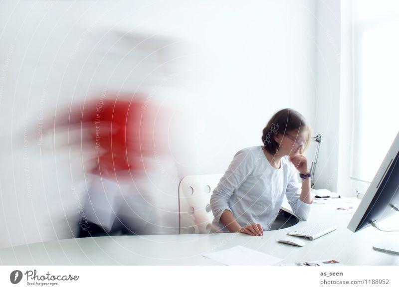 Business Mensch weiß Bewegung sprechen hell Business Arbeit & Erwerbstätigkeit orange Design Büro Geschwindigkeit Kreativität Computer Telekommunikation Wandel & Veränderung Team