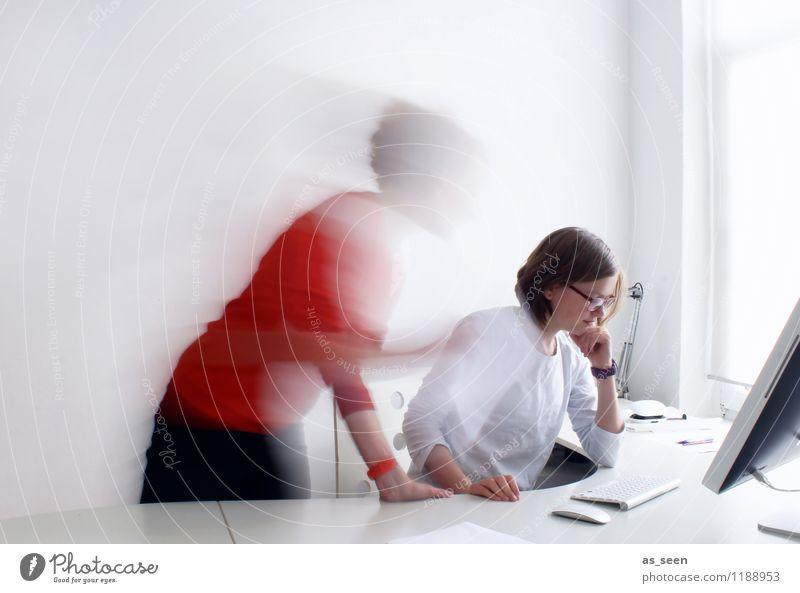 Co-working Mensch Farbe weiß sprechen Business orange Büro Geschwindigkeit Kreativität Computer Zukunft Telekommunikation Wandel & Veränderung Team Internet Wissenschaften
