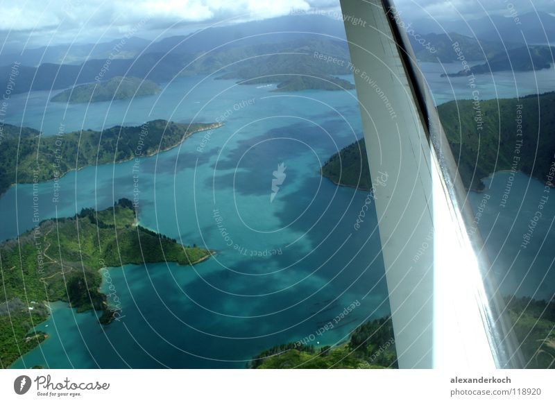 Abgehoben Tropisch Meer blau Ferien & Urlaub & Reisen Luft Flugzeug fliegen Insel Tragfläche türkis Fjord Neuseeland schimmern