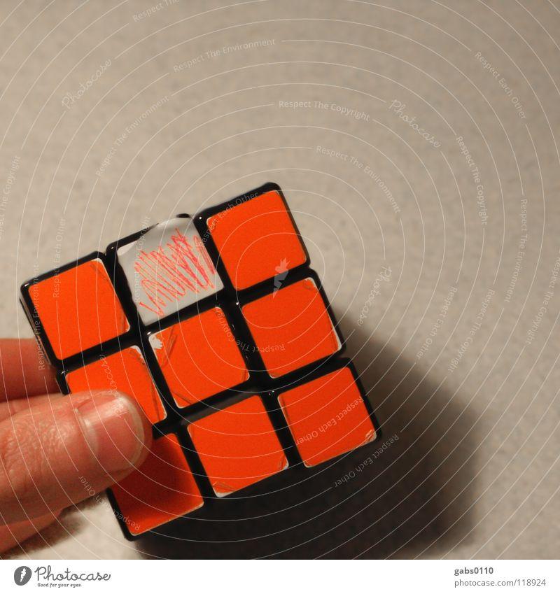 wÜrFel Farbe Spielen Denken orange Design einfach festhalten Konzentration Lehrer drehen Verstand Wissen Geometrie Mensch lügen Würfel