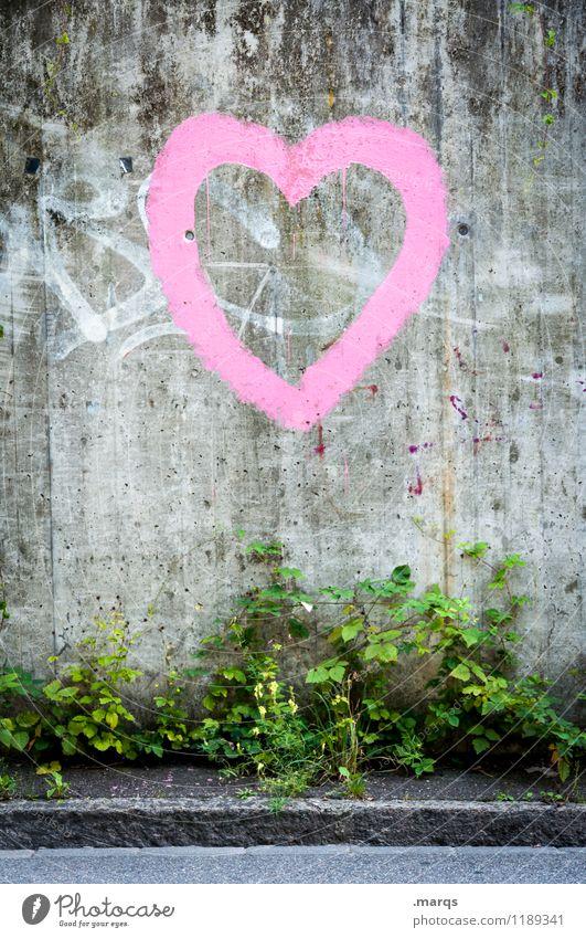 Herz Stil Sträucher Mauer Wand Straße Zeichen Graffiti einfach schön grau rosa Liebe Verliebtheit Partnerschaft Farbfoto Außenaufnahme Strukturen & Formen