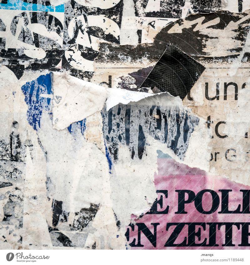 Polizeit dreckig Schriftzeichen Kommunizieren kaputt Werbung Riss trashig Poster Schwarzes Brett Litfaßsäule