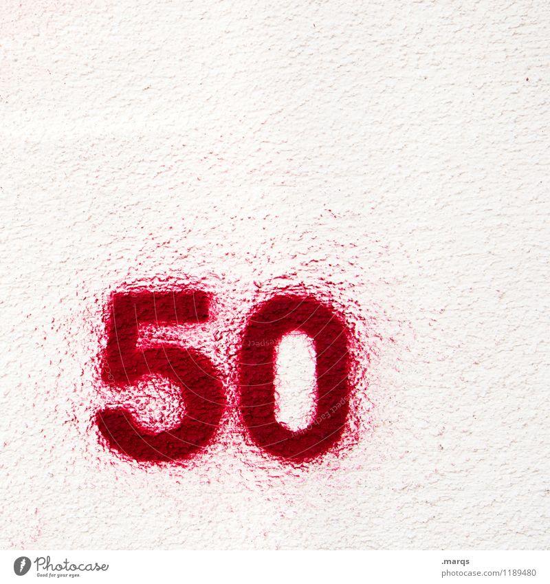 50 Geburtstag Jubiläum Mauer Wand Farbstoff Ziffern & Zahlen alt einfach rot weiß Lebensalter Farbfoto Außenaufnahme Nahaufnahme Strukturen & Formen