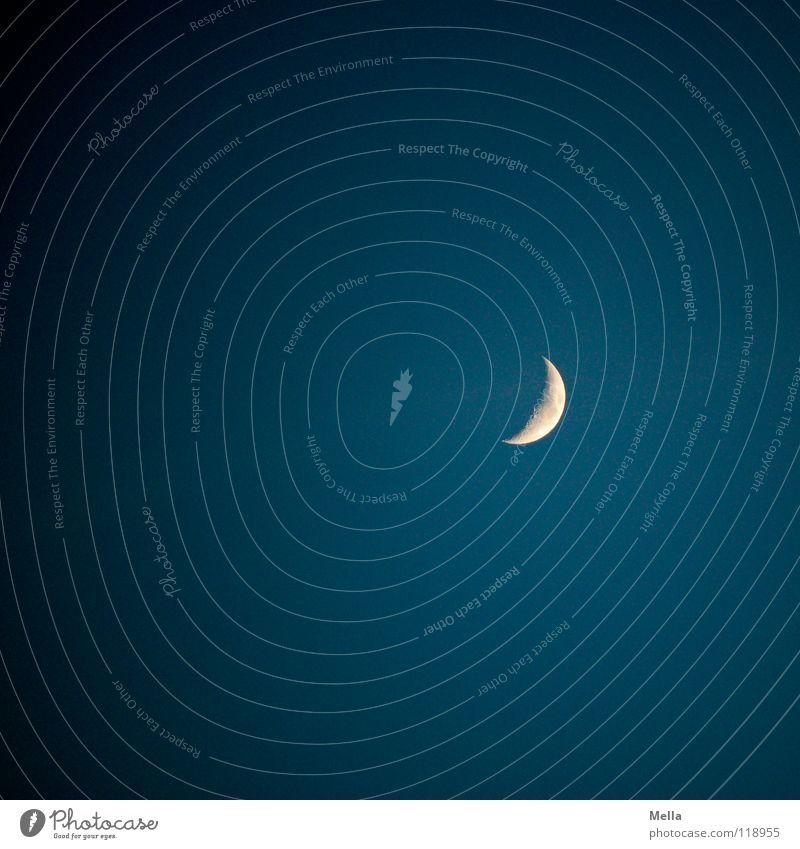 Mondtag Himmel blau Ferne dunkel Wege & Pfade hell Beleuchtung Kraft schlafen Romantik Konzentration weinen Himmelskörper & Weltall Schwerkraft
