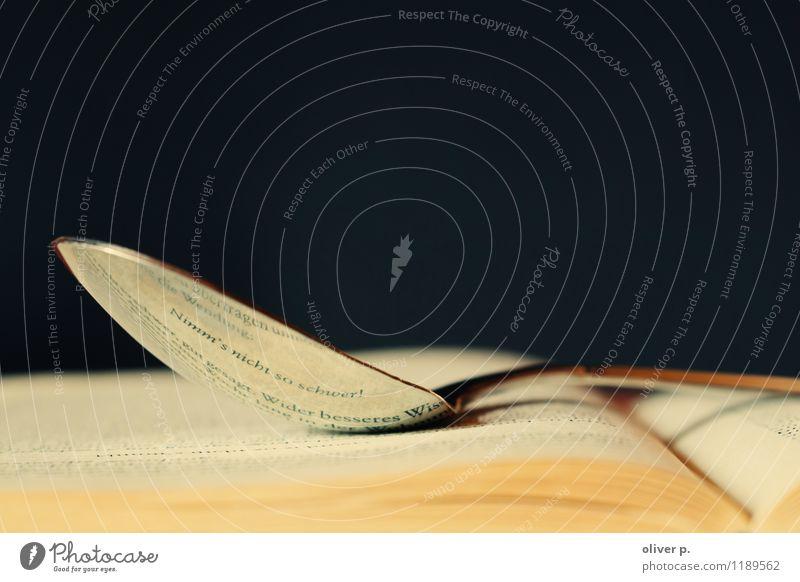 Ein Löffel Leichtigkeit Kultur Medien Buch lesen Buchseiten Zufriedenheit Beratung Erholung Gefühle Stimmung Ausgeglichenheit Ratgeber golden Bokeh Farbfoto