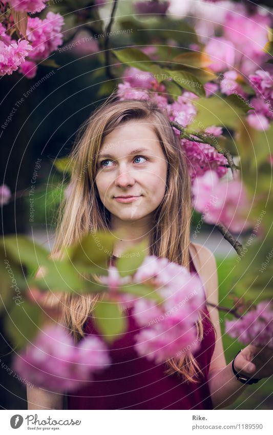 Frühlingsportrait. Mensch feminin Junge Frau Jugendliche Erwachsene Gesicht 1 13-18 Jahre Kind 18-30 Jahre Umwelt Natur Pflanze Sommer Schönes Wetter Baum Blatt