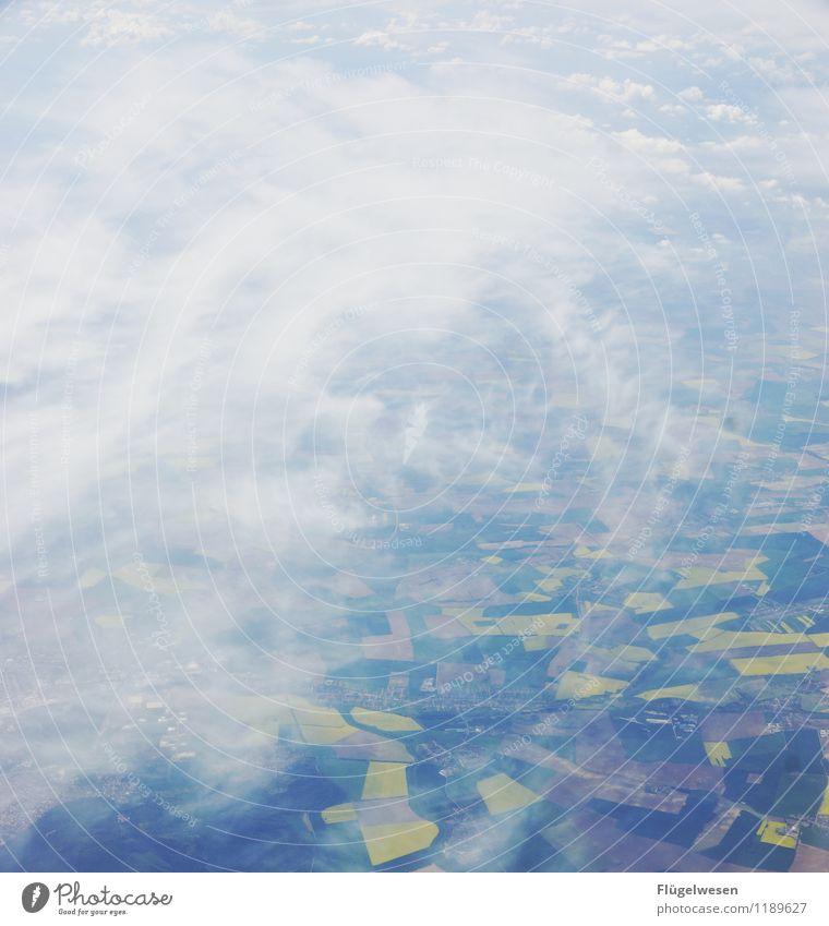 Felderflickenteppich Ferien & Urlaub & Reisen Tourismus Ausflug Abenteuer Ferne Freiheit Umwelt Natur Landschaft Garten Park Wiese Flugzeug Flugzeugstart