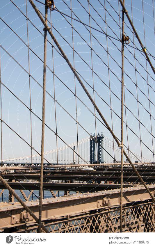 Manhattan Bridge Ferien & Urlaub & Reisen Tourismus Sightseeing Städtereise New York City Stars and Stripes Hauptstadt Stadtrand Skyline Brücke Mauer Wand