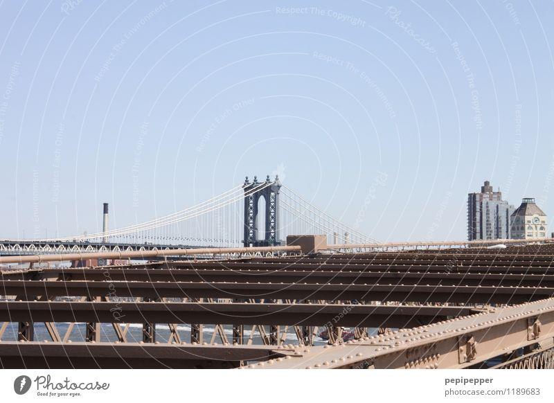 Manhattan Bridge Ferien & Urlaub & Reisen Straße Stein Fassade Tourismus Verkehr Ausflug Brücke Bauwerk Skyline Hauptstadt Verkehrswege hängen Stahl