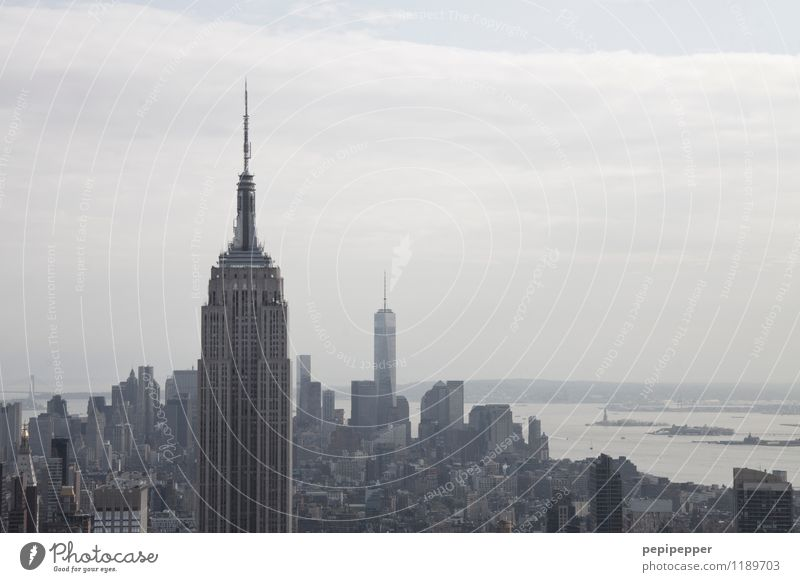 NYC Himmel Ferien & Urlaub & Reisen Haus Ferne Gebäude grau Stein Wohnung Tourismus Büro Hochhaus Skyline Bankgebäude Wahrzeichen Wirtschaft Stadtzentrum