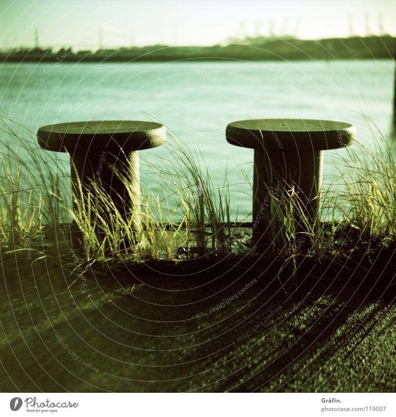 Poller Gras Ferne Horizont Wellen Pflanze Wachstum Kran Verkehr ruhig Schwache Tiefenschärfe Hafen Wasser Elbe Schatten letzter Tag Rost Küste böschung