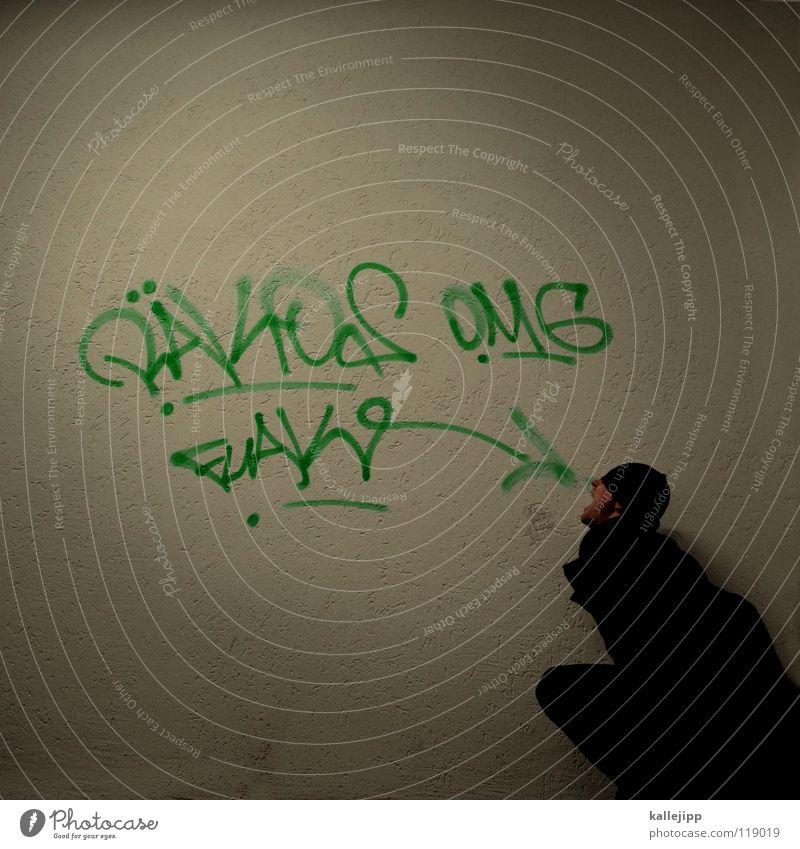 fütterungszeit Mensch Mann Jugendliche blau Hand weiß rot Freude ruhig Ernährung kalt Graffiti Wand sprechen Gefühle Mauer