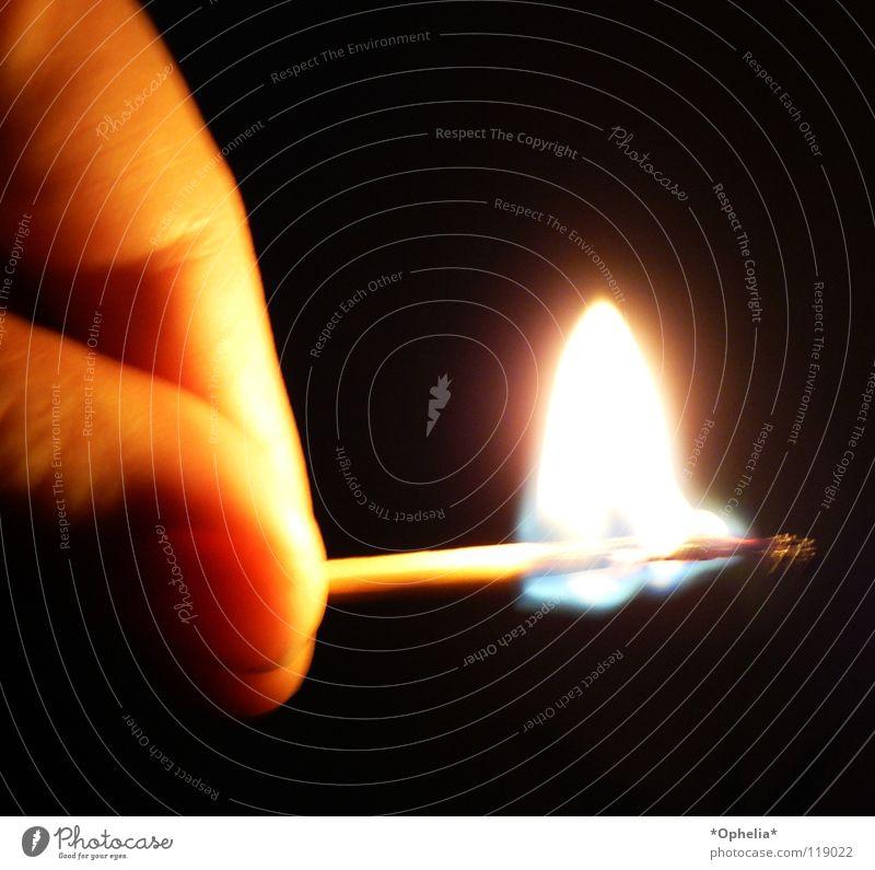 glow in the dark Wärme Brand Finger Feuer Physik Streichholz