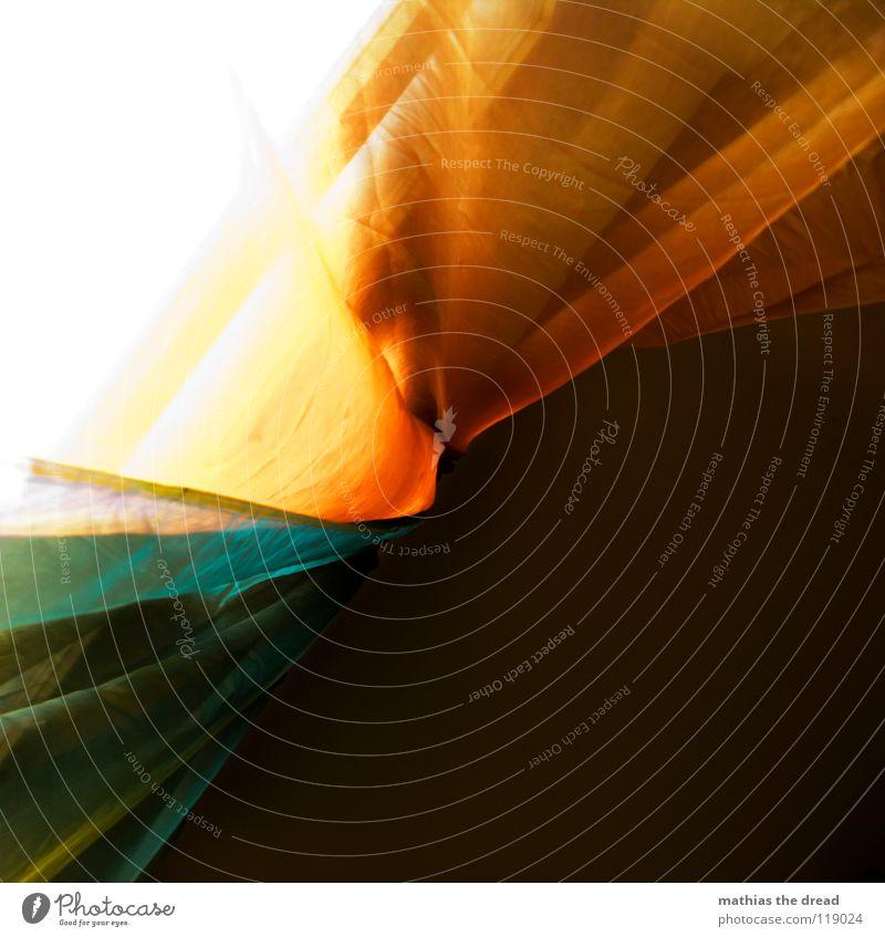 Verschleierte Fensterblick blau schön rot gelb Leben Spielen Linie orange Innenarchitektur Wohnung Glas glänzend frisch Dekoration & Verzierung Stoff