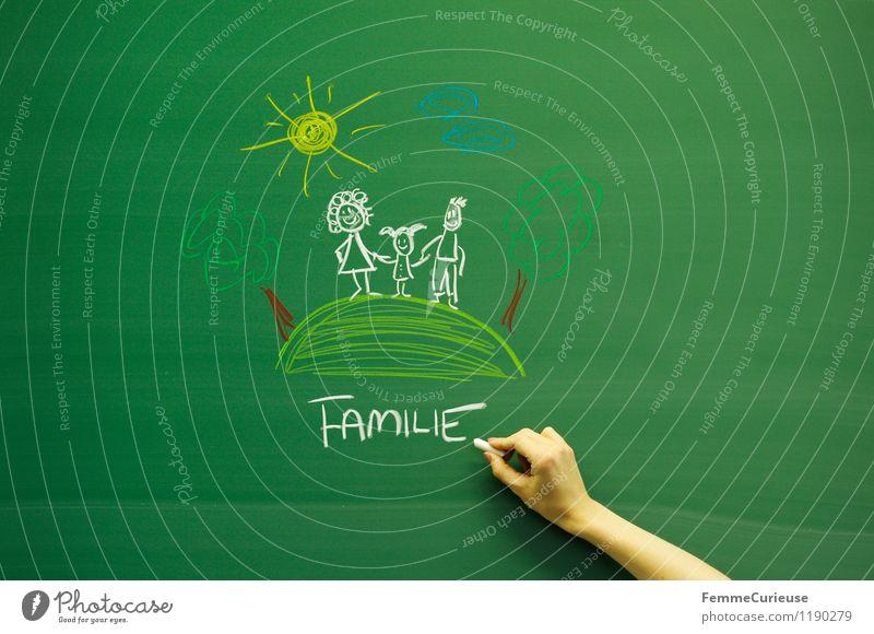 Familie. Frau Kind Natur Jugendliche Mann Junge Frau Junger Mann Mädchen Erwachsene Leben Liebe Glück Familie & Verwandtschaft Idylle Kindheit malen