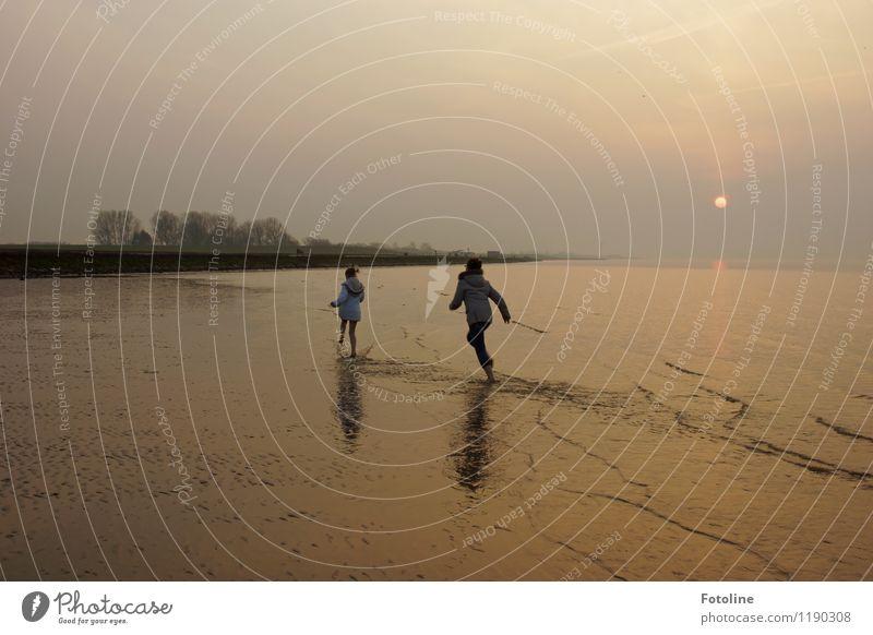 Watt? Toben? Bin ich dabei! Mensch Kind Geschwister Kindheit 2 Umwelt Natur Urelemente Wasser Schönes Wetter Wellen Küste Strand Nordsee Meer frei maritim nass