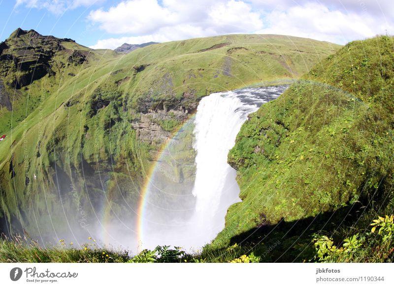 Skógarfoss Himmel Natur Pflanze schön Wasser Sonne Landschaft Wolken Umwelt Gras Felsen Nebel Schönes Wetter Urelemente Fluss Island