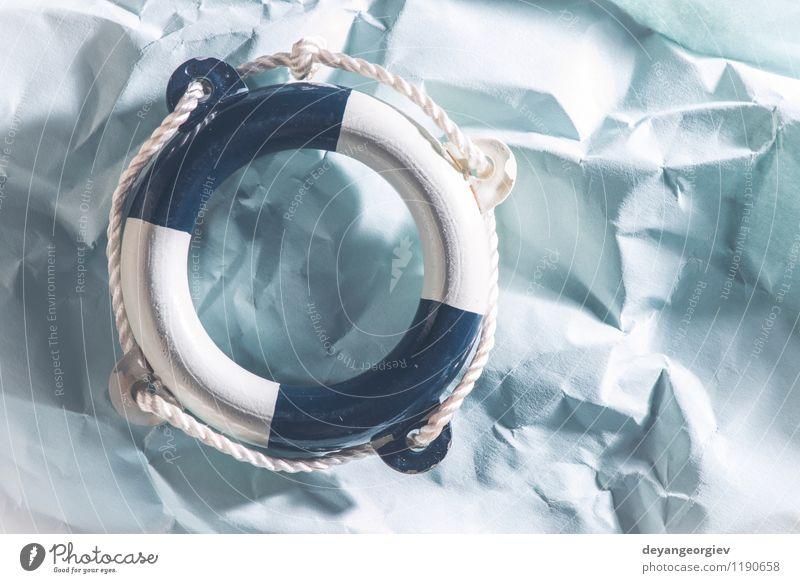 Rettungsring auf blauem Papier Ferien & Urlaub & Reisen Sommer weiß Meer rot Strand Leben Seil Schutz Sicherheit Symbole & Metaphern Schwimmbad Objektfotografie