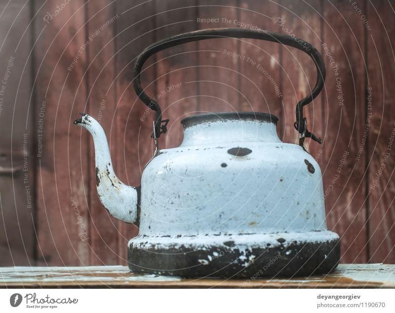 Alte Weinlesemetallteekanne alt weiß schwarz Metall Dekoration & Verzierung Getränk Kultur retro Küche Kaffee heiß Tradition Tee antik Topf Objektfotografie