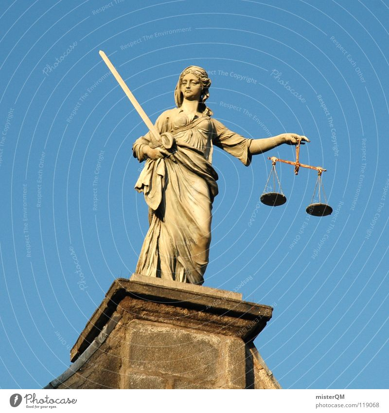 liberal justitia Justiz u. Gerichte Gerechtigkeit Waage wiegen Mensch Büste Statue Schwert Waffe Degen Mantel Tracht Beschluss u. Urteil Amtsgericht Richter