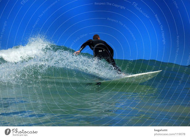 back Surfen Surfbrett extrem Wellen Meer Wassersport Horizont Küste Strand Ferien & Urlaub & Reisen grün weiß mystisch Brandung Umwelt Gefühle Erfrischung