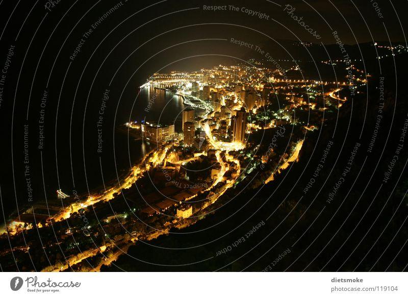Monaco bei Nacht Langzeitbelichtung Cote d'Azur Monarchie Stadt Meer Frankreich Licht Mittelmeer Nachtaufnahme Fürstentum Spielkasino
