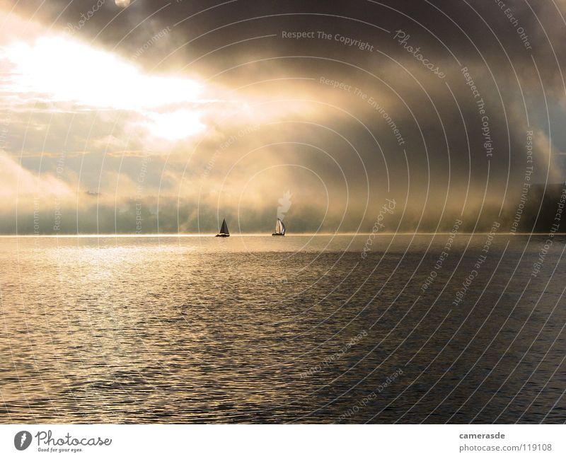 Ammersee 24h Regatta Sonnenaufgang Himmel Wolken See Nebel Segeln Segelboot