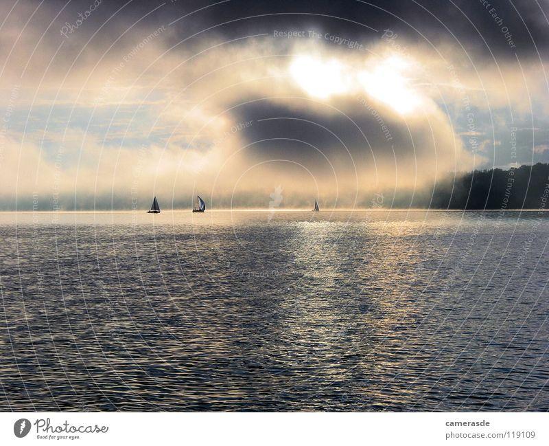 Ammersee 24h Regatta Sonnenaufgang2 Segeln Segelboot Nebel Wolken See Wasser