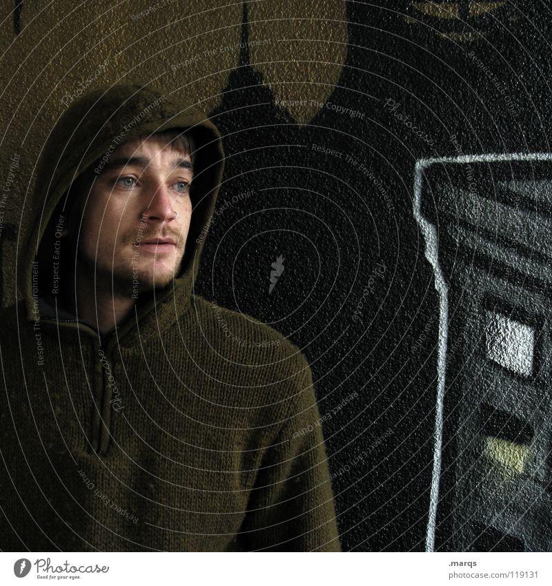 Tagträumer Mensch Mann Gesicht schwarz Wand Gefühle Traurigkeit Denken Graffiti Angst Trauer Kommunizieren berühren Konzentration Typ Gedanke