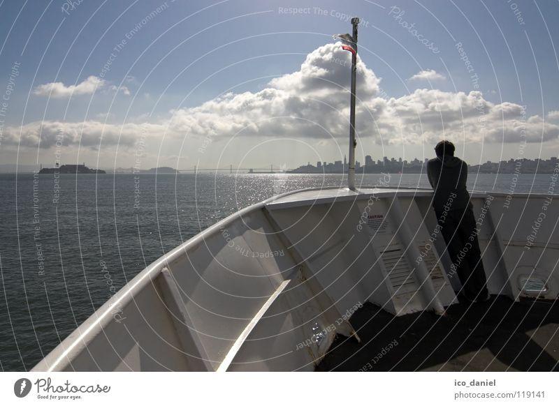 """""""denk an dich"""" Himmel blau Wasser Ferien & Urlaub & Reisen Wolken Ferne Traurigkeit Denken Wasserfahrzeug Ausflug Trauer USA beobachten Sehnsucht Skyline"""