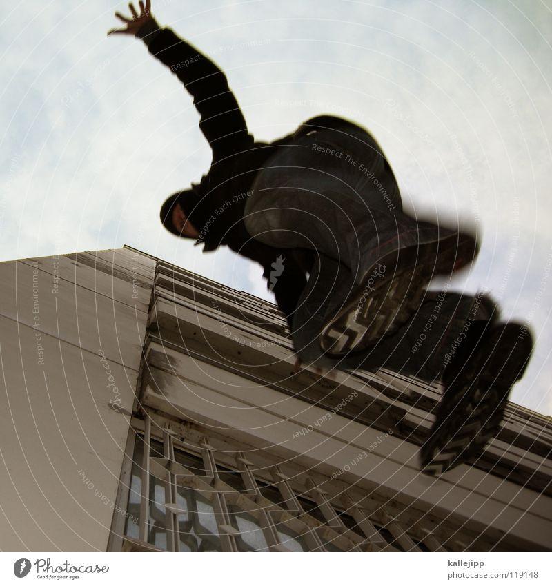 plattenprobeflug Motte springen Dieb Einbruch Kriminalität fallen Suizidalität Dummkopf Parkhaus Blick Hochhaus Kapitän Lampe Aussicht Navigation Richtung See