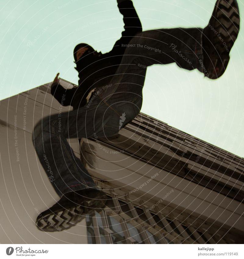 plattenbeuchlandung Motte springen Dieb Einbruch Kriminalität fallen Suizidalität Dummkopf Parkhaus Blick Hochhaus Kapitän Lampe Aussicht Navigation Richtung