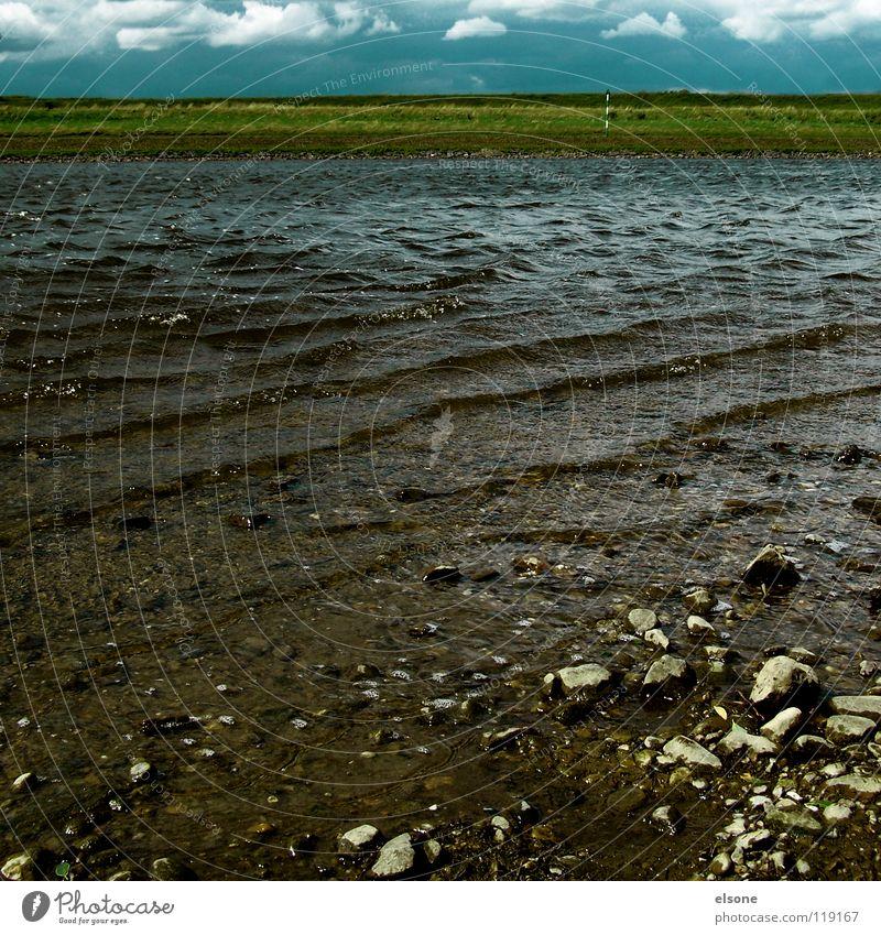 ::ELBWASSER:: fließen Elektrizität strömen Rauschen Wellen rieseln sprudelnd Quelle Gluckern Geplätscher Gewässer Strand Brandung Wellengang Wiese Wolken Wasser